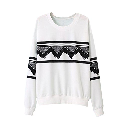 SODIAL (R) Moda Europa Donna Stampa Etnica Camicetta Felpa Maglietta Bianco L