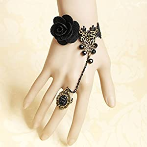 Retro Vintage Bracelet with Finger Ring Lace Vampire Accessories Wedding Decorations Classic Royal Court Palace Punk Rock Women Ladies Girls Chain Wristband Jewelry Halloween Costume Ball Masquerade Decoratioins Gift from JPC