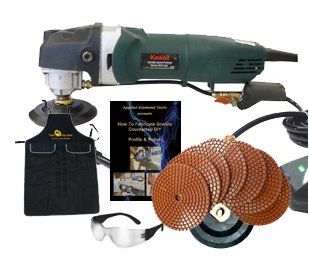 Wet Granite/Concrete Polisher with Diamond Polishing Pads Package