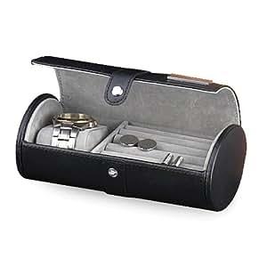 Leder Watch & Manschettenknopf Fall verfügbar in Black/Tan - perfekte Geschenk