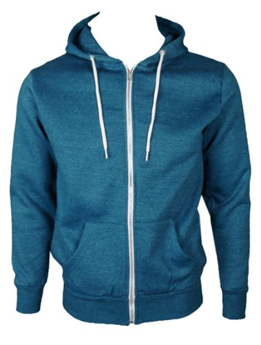The Home of Fashion Mens Fleece Lined Hooded Jumper-M -Faded Blue