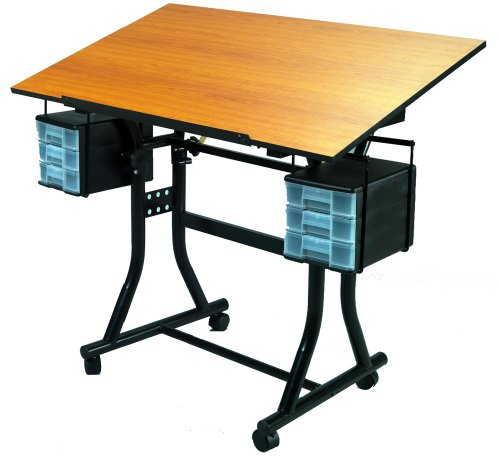 Martin Creation Station Deluxe Hobby Table-Black With Cherry Wood Top