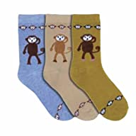 Luxury Divas Fun Printed Monkey Face Multi Color Assorted 3 Pack Socks