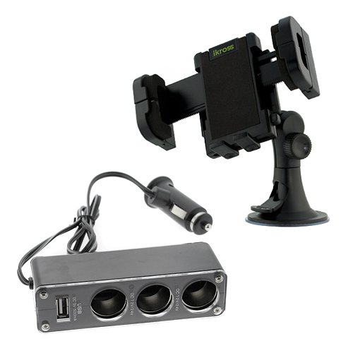 iKross Car Windshield Mount Holder + 1 to 3 Car Cigarette Lighter Socket DC Power Adapter Splitter with USB Port for Motorola Electrify M, DROID RAZR MAXX HD Samsung HTC LG Cellphone Smartphone and more