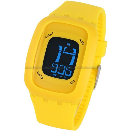 AMPM24 LCD Touch Screen Alarm Date Day Backlight Lady Mens Yellow Sport Silicone Watch
