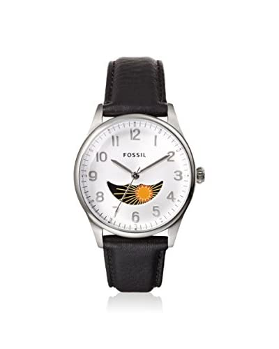 Fossil Men's FS4846 The Agent Black/Silver Leather Strap Watch
