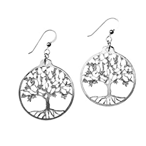 Small Tree of Life Silver Dipped Earrings on French Hooks