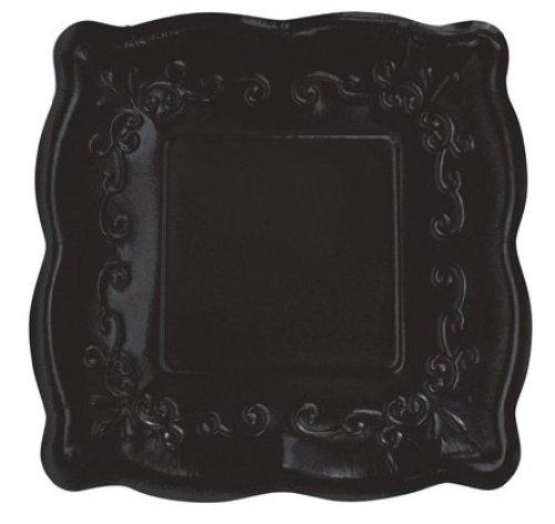 "Elise Scalloped Embossed 7"" Square Premium Paper Plates, 8-Count, Licorice"