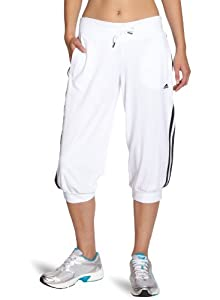 adidas Women's Essentials 3-Stripes 3/4 Knit Pant - White/Black, Medium