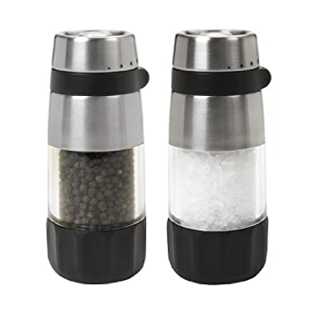 OXO Good Grips Salt & Pepper Grinder Set:   In the kitchen or at the dining table, the OXO Good Grips Salt & Pepper Grinder Set is always in season. The Grinders are easily adjustable from fine to coarse grind and rest flat when upside down for easy...
