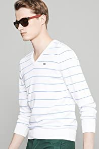 Glc Cotton Jersey V-neck Striped Sweater