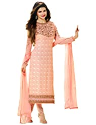Exotic India Tropical-Peach Self Embroidered Choodidaar Kameez Suit With - Pink