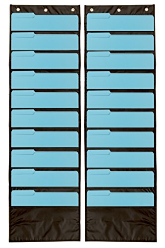 Pack of 2 Premium Wall Storage Pocket Charts / Organizers (Black) - The Perfect Pocket Chart for Classroom, School, Office or Home Use (Pocket Chart Organizer compare prices)