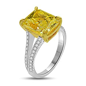 7.46 Ct Fancy Yellow GIA Certified Diamond Cocktail Ring