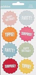 Hip, Hip, Hooray Embossed Stickers