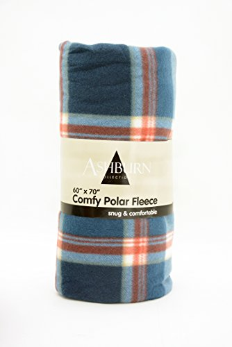 """Comfy Polar Fleece Throw Blanket 60"""" X 70"""" - Bigger, Better, Softer - One Week Clearance Sale On Now! (Red/Blue Plaid)"""