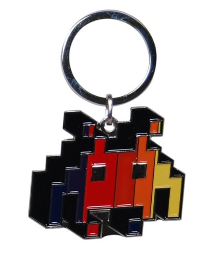 Retro Video Game Alien Enamel Keyring
