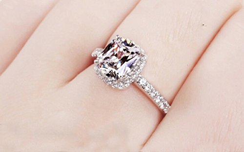 18k White Gold Gp Austria Swarovski Crystal Lady Bridal Engagement Ring R24a (6)