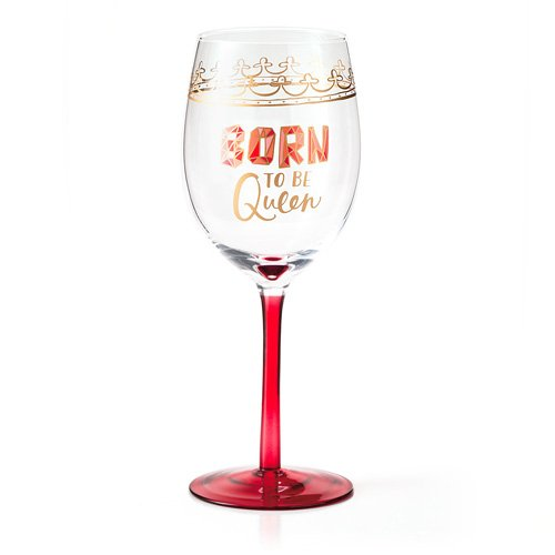 hallmark wine glass born to be queen new free shipping. Black Bedroom Furniture Sets. Home Design Ideas