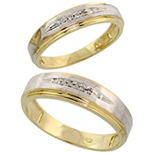 buy Gold Plated Sterling Silver Diamond 2 Piece Wedding Ring Set His 6Mm & Hers 5Mm, Ladies Size 9