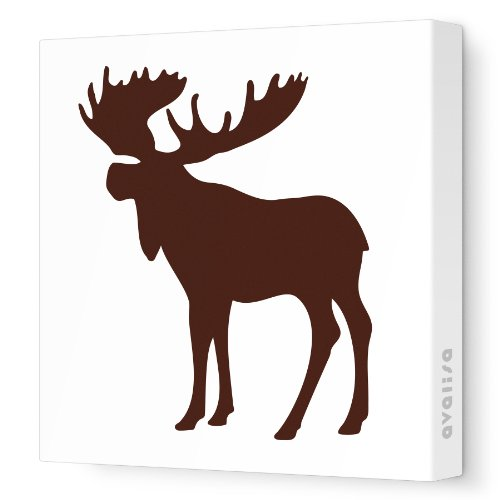 """Avalisa Stretched Canvas Nursery Wall Art, Moose Silhouette, Brown, 12"""" X 12"""" front-993153"""