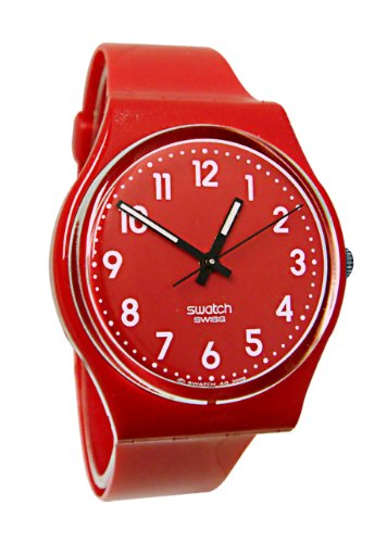 Swatch Women's GR154 Quartz Red Dial Plastic Watch