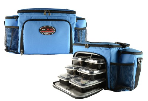Isobag 6 Meal Management System - Full Light Blue Limited Edition - Insulated Lunch Box / Insulated Lunch Bag - Isolator Fitness