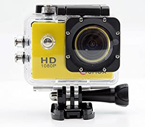 QUMOX SJ4000, Action Sport caméra, jaune, - Camera imperméable, Full HD, 1080p Video, Helmcaméra