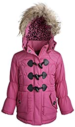 Dollhouse Baby Girls Down Alternative Removable Hood Fleece Lined Puffer Coat - Raspberry (18 Months)