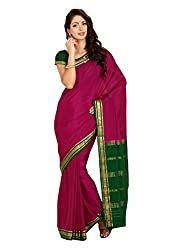 Kaushika Crepe Mysore Traditional Silk Saree Magenta Bottlegreen