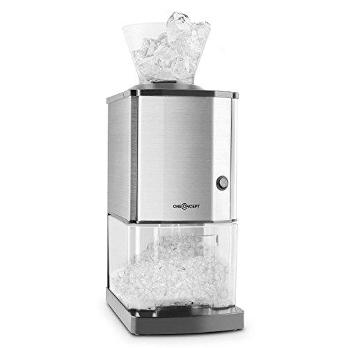 Icebreaker Crushed Ice Maker Ice Crusher elektische Crushed Ice Maschine (15kg/h, 3,5Liter Eisbehälter, Edelstahl-Gehäuse) silber