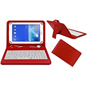 Acm Premium Usb Keyboard Case For Samsung Galaxy Tab 3 T111 Cover Stand With Free Micro Usb Otg - Red