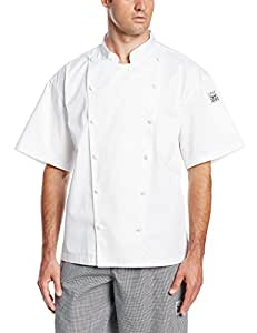San Jamar J057 Luxury Cotton Cuisinier Short Sleeve Jacket with Pocket and Cloth Covered Button, 3X-Large, White
