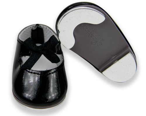 18 Inch Doll Tap Shoes, Doll Dance Shoes that are Safety Tested (no lead) Made to fit American Girl Dolls & More! Black Patent Mary Jane Style Tap Doll Shoes