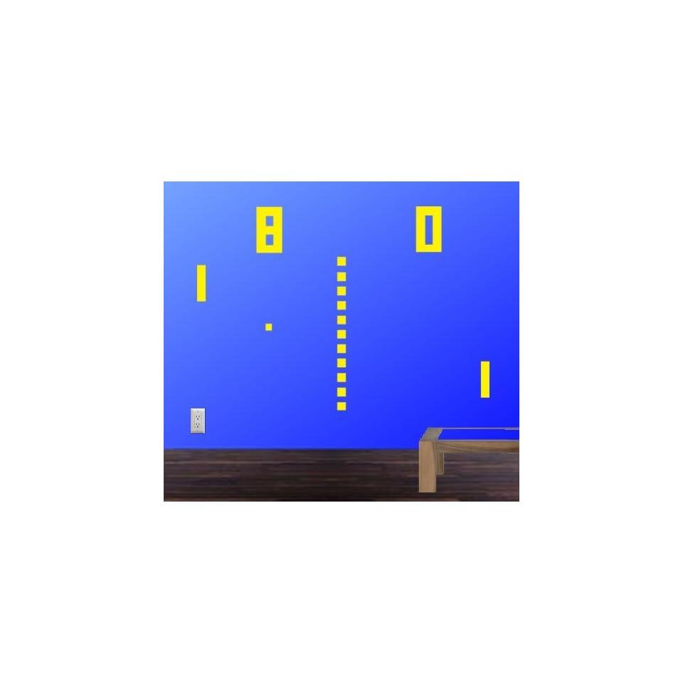 StikEez Yellow Large Ping Pong Retro Table Tennis 8 bit Fun Wall Decal