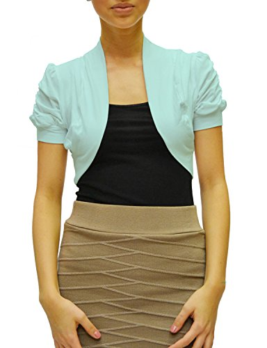 Azkara Women's Shrug Short Sleeve Cropped Bolero Cardigan Junior and Plus Size (3XL, Mint)