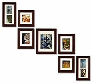 Pinnacle Frames and Accents 7-Piece Photo Frame Set, Walnut