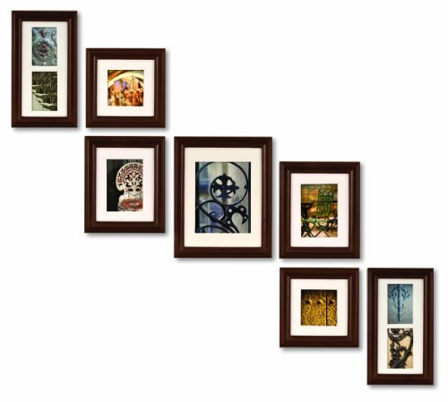Pinnacle Frames and Accents 7-Piece Photo Frame Set, Walnut Solid Wood