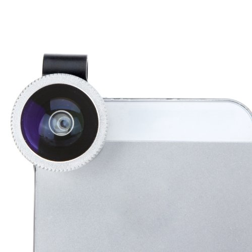 Detachable Clip-On 180° Degrees Telephoto Fisheye Lens Fish Eye Silver For Mobile Phones Iphone 4 4S