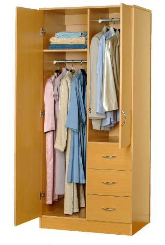 ABC Wardrobe Bedroom Armoire  2 Doors and 3 Drawers 