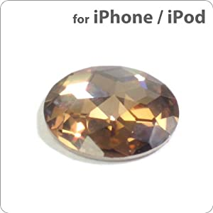 Cubic Zirconia Diamond Touch Me! Button Sticker for iPhone, iPod, and iPad (Champagne Gold)