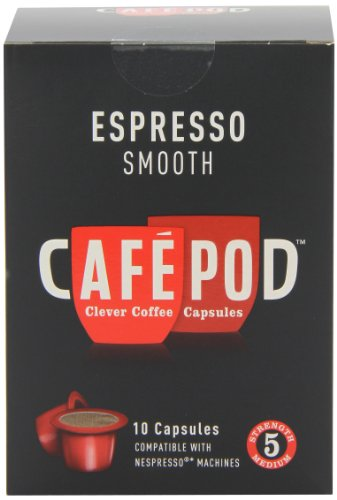 CafePod Nespresso Compatible Smooth 10 Capsules (Pack of 8, Total 80 Pods)