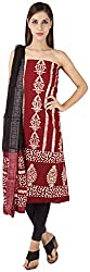 Bee Gee Boutique Women's Synthetic Unstitched Dress Materials (BG-47, Maroon & Black)