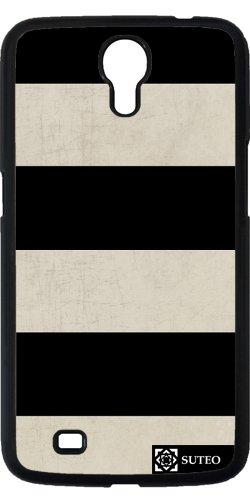 Hülle für Samsung Galaxy Mega 6.3 (GT-I9205) - Weiß und Schwarz Bands - ref 677
