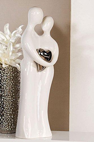 XL Designer-Skulptur Figur Paar weiß Keramik 70 cm hoch thumbnail