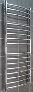 1200x500mm Polished Stainless Steel CURVED Heated Towel Rail       Customer review and more information