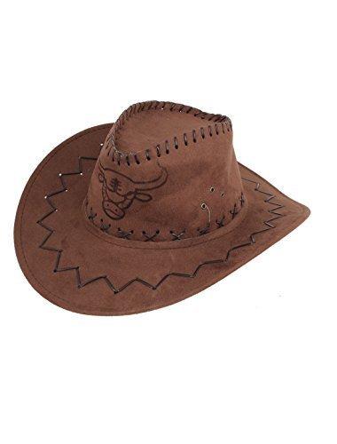 Herren Flanell Riemen Wickel Kuh Kopf Muster Kunstwildleder Cowboy Hut Braun - Braun, Braun, Damen, Einheitsgröße, Einheitsgröße