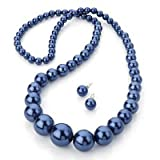 Long Glass Pearl Style Necklace And Stud Earrings Set (Navy Blue) -82cm Length