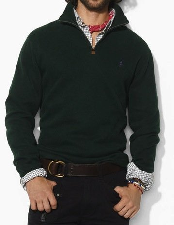 Polo Ralph Lauren Mens Cotton Half Zip Jumper Sweater in Dark Green (X-Large)