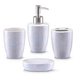 Zeller 18268 Bathroom Accessories 4 Part Set Ceramic Floral Design Kitchen Home